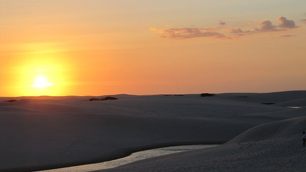 Sunset, Lençós Maranhenses, End Of Afternoon, Dune, Sky