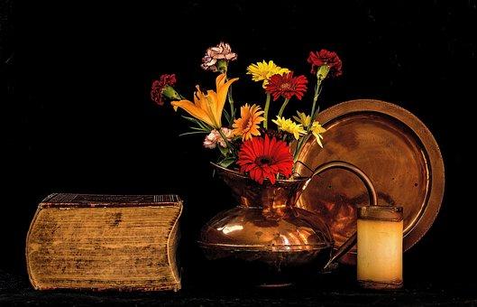 Still - Life, Flowers, Copper, Light, Book