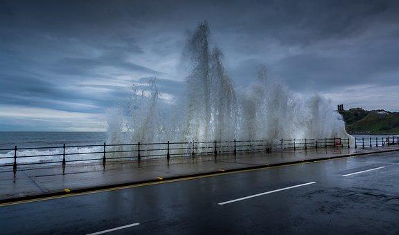 Marine Drive, Scarborough, Seascape, Waves, High Tide