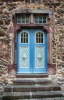 Door, Wooden Door, Oak, Blue, Grey, Old Door, Input