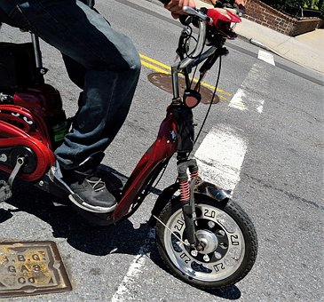 Red Scooter, Jeans, Sneakers, Street, Traffic, Man