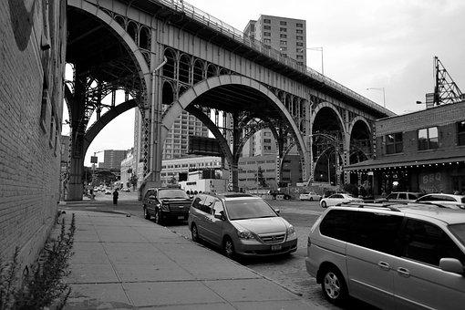 Bridge, Harlem, Ny, Black And White, Cars, Parked