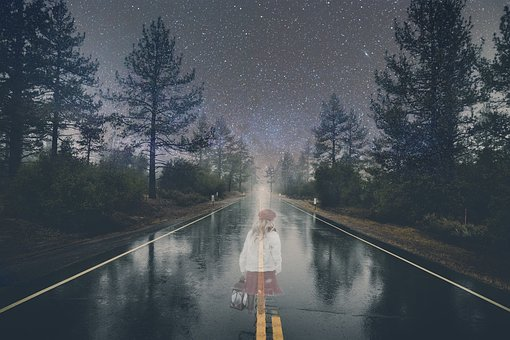 Ghost, Girl, Road, Night, Halloween, Scary, Horror
