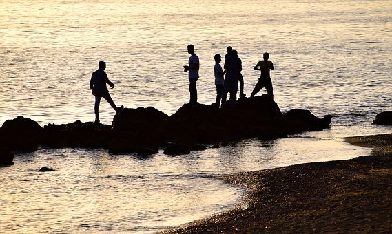 Sea, Sunset, Abendstimmung, Water, By The Sea, Group