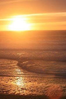 Oregon Coast, Coastline, Sunset, Lincoln City, Beach