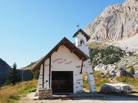 Chapel, Pass, The Falzarego Pass, Dolomites, Italy