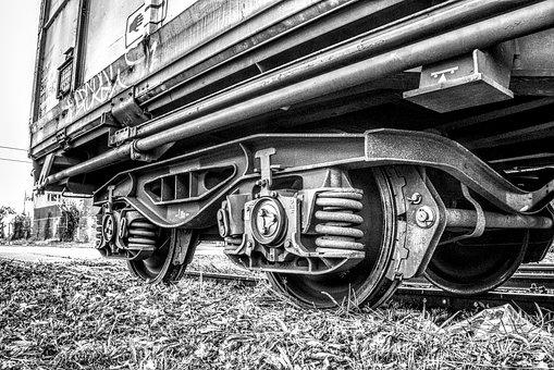 Train, Railway, Wheels, Wagon, Black And White, Hdr