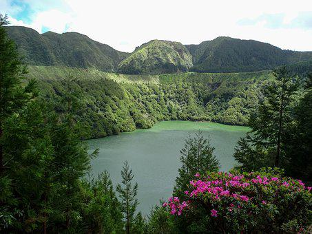 Landscape, Nature, Pond, Crater, Volcano, Water, Green