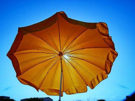Parasol, Sun, Beach, Holiday, Summer, Sky, Blue Sky