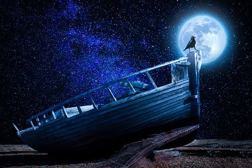 Moonlight, Boat, Old Boat, Wreck, Raven, Due To Lying