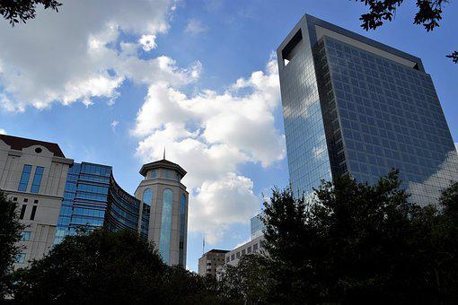 Business District, Houston Texas, High Rise, Clouds