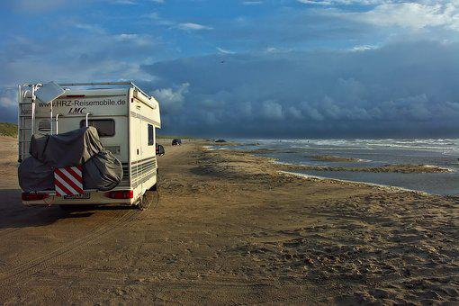 Mobile Home, Camper On The Beach, Beach, Vacations