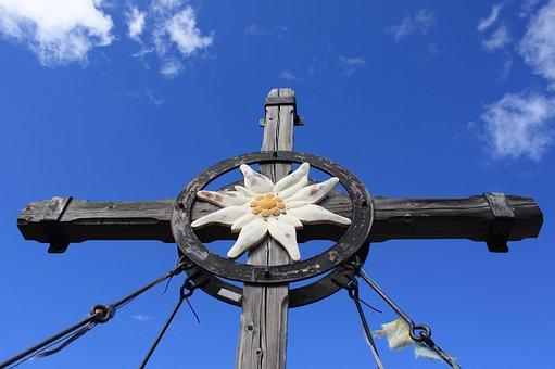 Cross, Jesus, Christianity, Summit Cross, Edelweiss