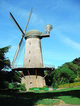 Windmill, Park, Field, San Francisco, Golden Gate