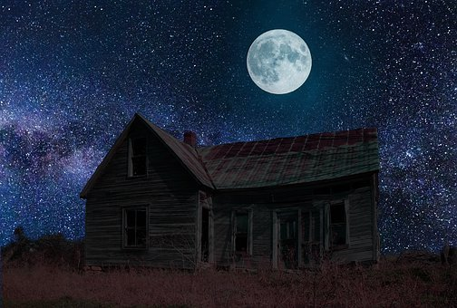 Abandoned, Haunted, Ghost, Horror, Moon, Stars, Space