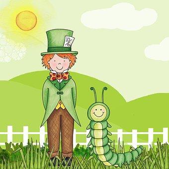 Alice In Wonderland, Kids, Green, Page, Cartoon