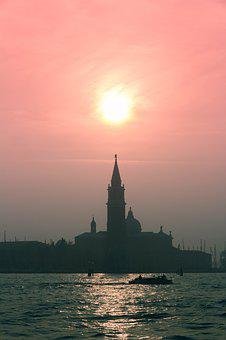 Venice, Sunset, Landscape, Italy, Travel, Water, Sky