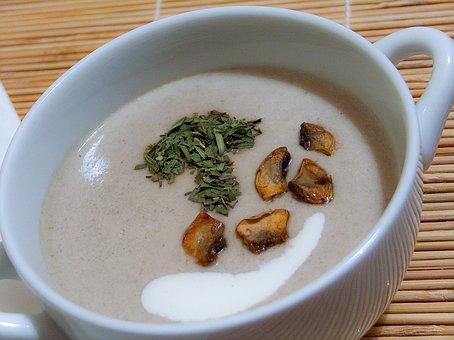 Mushroom Soup, Soup, Cream Soup, Meal, Serving, Bowl