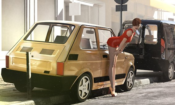 Polish Fiat 126p, 3d Model, Model, Woman, Car