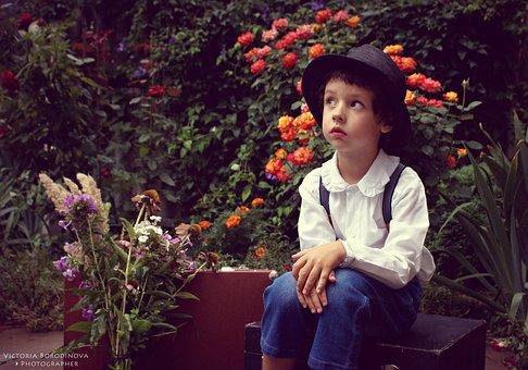 Garden, Boy, Flowers, Suitcase, Beautiful, Model