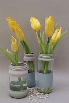Tulips, Vase, Jar, Painted, Bouquet, Bouquet Of Flowers