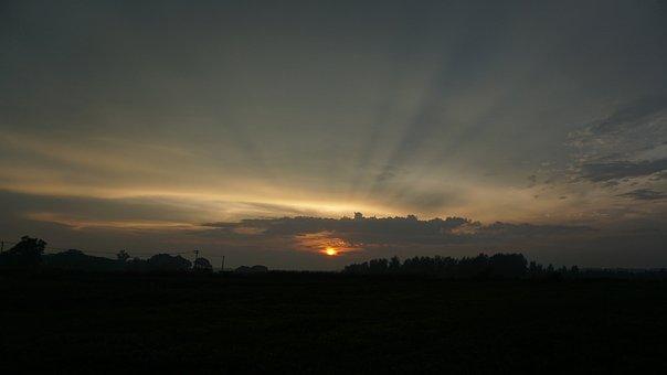 Sunset, Ray, Backlighting