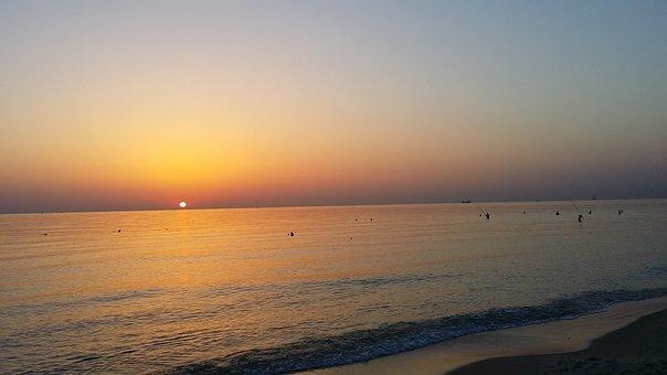 Tunisia, Sunset, Sea, Landscape, Coast, Evening