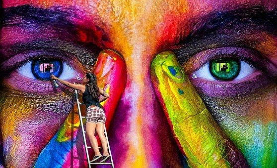 Wall Art, Spray, Graffiti, Woman, Color, Colorful, Head
