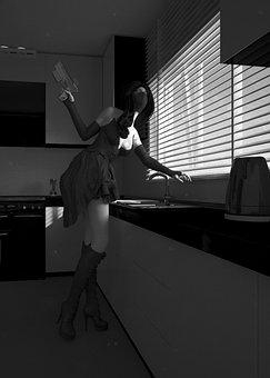 Woman, 3d Model, Gun, Kitchen, Blinds