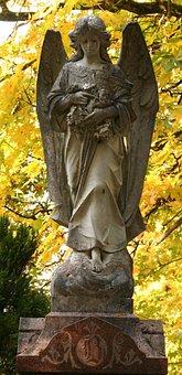 Fall Leaves, Cemetery, Angel, Yellow, Brown Angel
