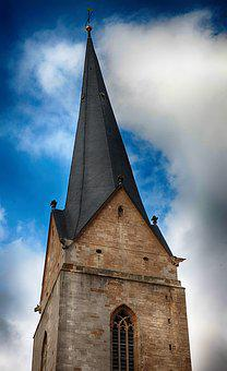 Steeple, Askew, Inclined, Spire, Building, Tower