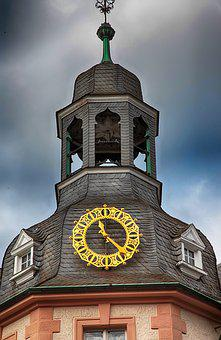 Clock, Golden, Tower, Slate, Bell, Time Of, Pointer