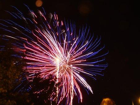 Lines, Fires, Night, Pyrotechnics, Explosion, Light