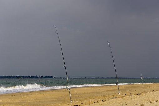Beach, Fishing, Ocean, Atlantic Ocean, Ronce-les-bains