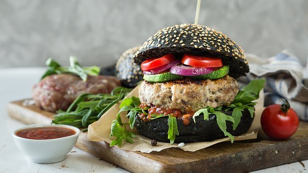 Hamburger, Black Bread, Vegetarian, Kitchen, Vegan