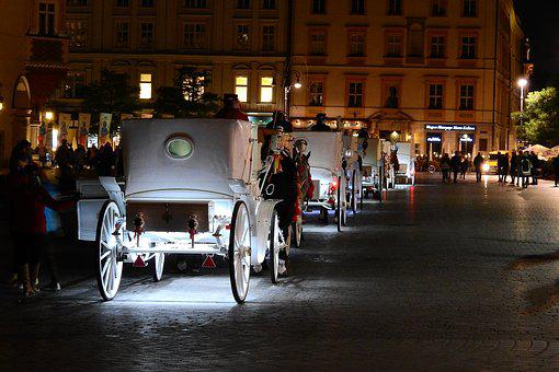 The Market, Kraków, Tourism, The Old Town, Carriages
