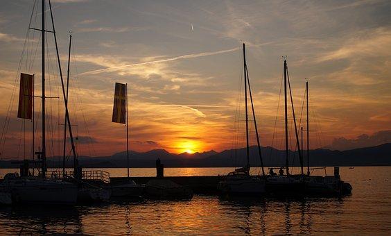 Lake Garda, Sunset, Sun Sunset, Veneto, Malcesine