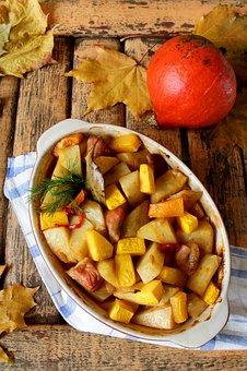 Roast Pumpkin, Meat With Pumpkin, In The Oven