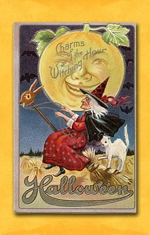 Halloween, Vintage, Card, Witch, Moon, Holiday, Retro