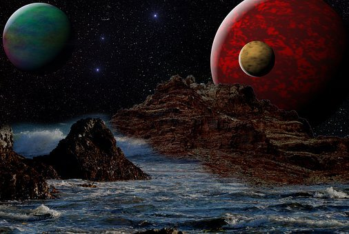 Fantasy, Night, Star Planet, Rock, Water, Photo Montage