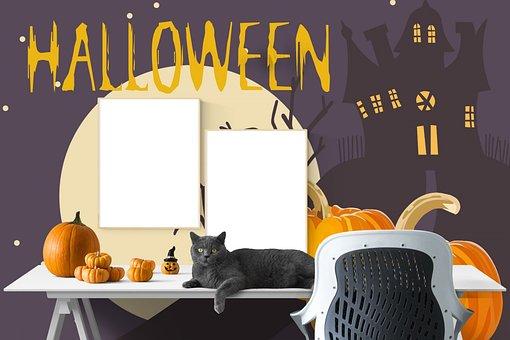 Poster, Mockup, Desk, Interior, Halloween, Workspace