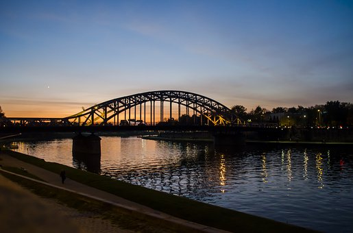 Kraków, Bridge, River, Wisla, Water, Road Bridge