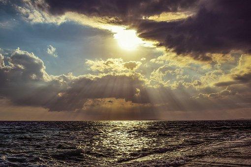 Sun, Sunset, Sea, Sky, Clouds, Light Path, Sunshine