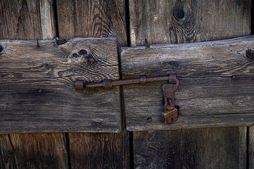 Wooden Door, Castle, Old Wooden Door, Old, Padlock
