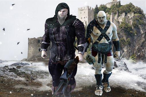 Warrior And Orc, Fantasy, Warrior, Orc, Barbarian