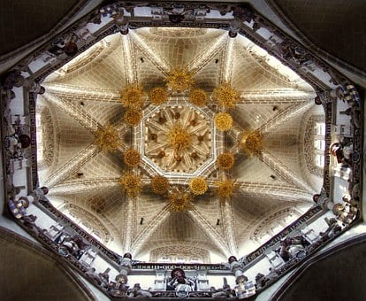 Church, Inside, Interior, Ceiling, Decorative, Ornate