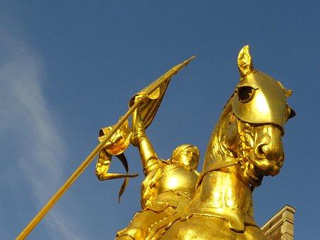 Paris, D'arc, Golden, Statue, D, Joan, Hero, Ancient