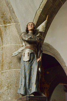 Jeanne D'arc, Image, Statue, Woman, Fights, Church