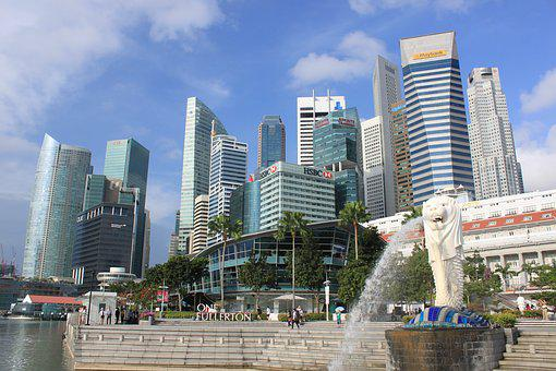 Travel, Singapore, Merlion, Business, City, Landscape