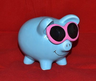 Piggy Bank, Blue, Glasses, Money, Save